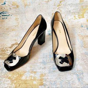 Shoes - Prada Patent Leather PeepToe Chunky Block Heel